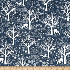 Dear Stella Blue Moon Blue Moon Folkstone from @fabricdotcom  From Dear Stella, this cotton print fabric features towering forest trees and a few hidden animals hanging out in the forest. Perfect for quilting, apparel and home decor accents. Colors include white and denim.
