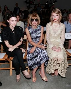 rooney mara, anna wintour, taylor swift    Weird combination of style and odd group to see together