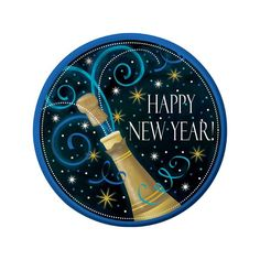 Happy New Year Champagne Paper Dessert Plates 7in 8ct