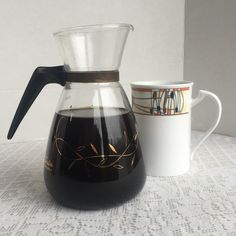 Drink your coffee in mid century style with this pretty vintage coffee pot.