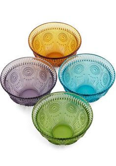 Istan-bowl Set. The hues of this stunning glass bowl set by One Hundred 80 Degrees calls to mind my time shopping in the markets of Turkey, where painted ceramic and gorgeous glass dishes display a show of true beauty. #multi #modcloth