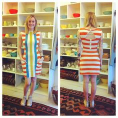 Can a dress look any better on someone? No wonder Sydney is smiling! It's also the combination of the tattoos and high tops. Loving this look. Thanks Lauren Moffatt for the Billie Jean striped dress! Spring 2013.