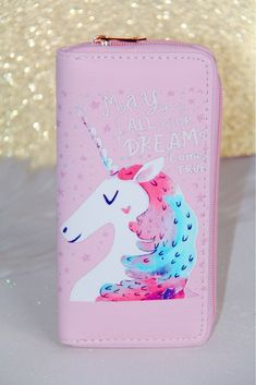 Green Fresh Beautiful Little Girl Balloon Pony Unicorn Women Wallet RFID Zip Long Wallets Phone Travel Card Holder Purse Clutch Multi Card Case
