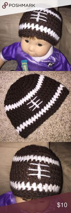 🏈 Knitted Newborn Football Hat New Super Cute! Hand Knitted Newborn Football Hat New Super Cute! Approximately Fits size 0-3 months with stretch!! Perfect for your little Football Fan  🏈 boutique Accessories Hats