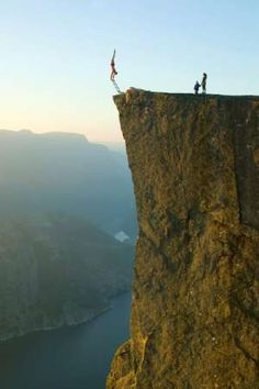 Doing a handstand on a 604-meter cliff in Norway.  Way cool