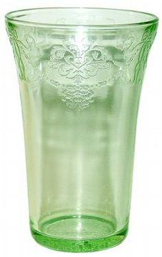 Bowknot Green Depression Glass Tumbler