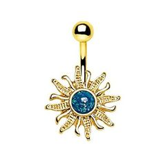 Gold Plated Antique Mayan Sun and Moon Navel Ring