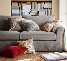 PB Comfort Roll Arm Slipcovered Sofa - Silver Taupe (212 cm)