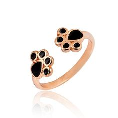 Rose gold colour double cat paw print adjustable ring with bright high polished finish and shiny black enamel paws. Available in 3 different colors. Mix and match today!