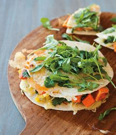 Sweet Potato and Green Chili Quesadillas with Arugula @A Williams-Sonoma