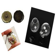 Μενταγιόν γυάλινο και χάλκινο κάλυμμα 25x24mm (1 σετ) DV0013