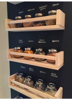 IKEA spice rack idea. This is great! Just paint chalkboard paint behind the racks for labeling! Cool idea for an RV.