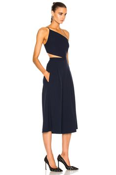 Image 3 of Michelle Mason Asymmetrical Bandeau Jumpsuit in Prussian Blue