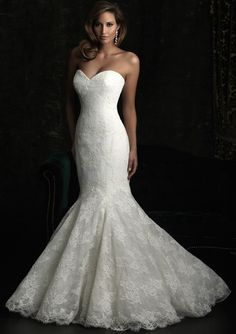 A more dramatic option. Allure Bridals, Style:8970 - This fit and flare gown is stunning. The slim silhouette features a strapless, sweetheart neckline. Layers of lace create dimension throughout the entire design. #wedding OMG!! I love this dress it will be mines!!