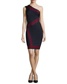Herve Leger striped bandage knit dress. Bands graduate in width for hourglass effect. One-shoulder neckline. Sleeveless. Fitted silhouette. Straight hem. Bound back zip. Rayon/nylon/spandex. Dry clean