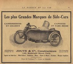 Publicity sidecar from 1921, strange, it looks like a leftside British sidecar, but it's a French publicity, so the sidecar should be on the other side
