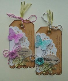Annemarie's Kaarten : 2 labels Mini Album Scrapbook, Handmade Gift Tags, Candy Cards, Marianne Design, Paper Tags, Scrapbook Embellishments, Vintage Tags, Card Tags, Tag Art