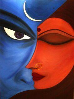 Shiva Shakti, Arte Shiva, Shiva Art, African Art Paintings, Modern Art Paintings, Indian Folk Art, Modern Indian Art, Art Painting Gallery, Small Canvas Art