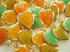 Vintage heart charms, glittery gold charms, set of 4