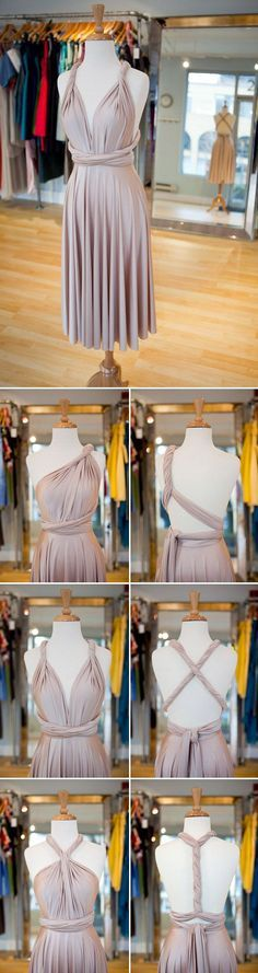 gorgeous multiway convertible dress in rosewater showing all the different styles!