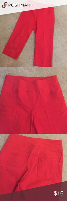 "Red stretch capris 19"" inseam. 77% rayon 20% nylon 3% spandex Westbound Pants Ankle & Cropped"