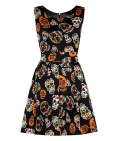 Look at this Black Candy Skull Fit & Flare Dress on #zulily today!