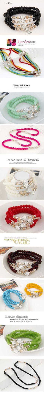 Wholesale Lady easy match unique dazzling ball crystal beads multi-layer fashion bracelet ( mint )   Callesetas