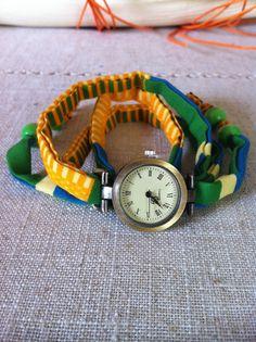 """montre """"entrelace moi"""" au bracelet en pagne africain wax  jaune"""
