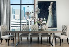 Henley Dining Table -Gray Pearl Leg FinishPolished Steel Dimensions106w 40d 30.5h