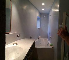 Azure tadelakt bathroom