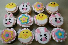Mrs. Quinn's Easter cupcakes for her preschool party! Half chocolate with chocolate filling and half vanilla with chocolate filling.