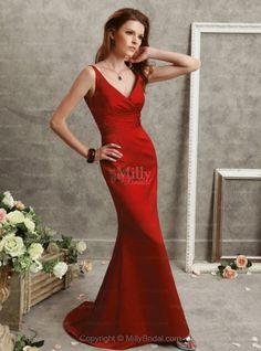 Trumpet, V-neck , Evening Dress