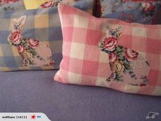 rabbit cushions made using vintage materials. * The backround is made from a vintage checked blanket. * Rabbit from a gorgeous piece of vintage rose fabric for your babies nursery or childs room *The inner is feather filled (NEW ) Fabric Crafts, Sewing Crafts, Sewing Projects, Vintage Wool, Vintage Sewing, Recycled Blankets, Chenille Blanket, Vintage Sheets, Vintage Crafts