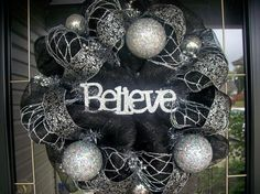 Black and Silver Deco Mesh Christmas Wreath wreaths-wreaths-and-more-wreaths