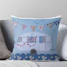 'Retro white caravan ' Throw Pillow by Leatextileart Applique Patterns, Embroidery Applique, Quilt Patterns, Embroidery Ideas, Machine Embroidery, Retro Caravan, Caravan Ideas, Camper Ideas, Throw Pillows Bed