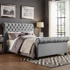 Plano Soft Silver Naple Chesterfield Sleigh Bed Frame – Bed Universe