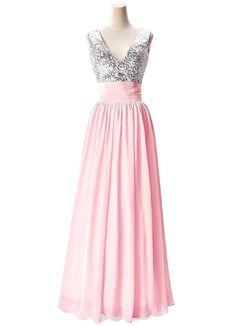 Champagne V-Neck Long Bridesmaid Dress