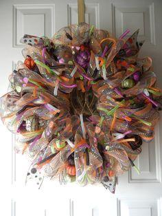 Halloween Deco Mesh Wreath by DecoDaneWreaths on Etsy