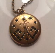 Art deco gold filled locket with rhinestones