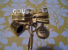 Signed 1928 Jewelry Co Figural Pin Brooch  Couture Designer Dressmaker Scissors  #1928JewelryCo