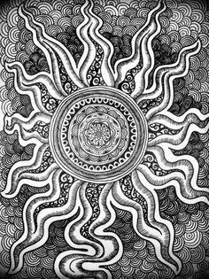 Zendoodle sun and waves. Artist could not be traced.