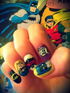 Nail Art Designs are one of the most famous type of artwork among the ladies. Nail art designs are the decoration of nails with beautiful, unique drawings. Batman Nail Art, Superhero Nails, Superhero Cartoon, Superhero Design, Crazy Nail Art, Crazy Nails, Crazy Art, Cute Nails, Pretty Nails