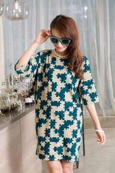 Large Size Round-Neck Half Sleeve Print Short Day Dress, Sleeve
