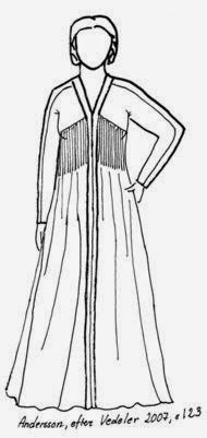 Different sketch of a 15th Century Finnish dress.