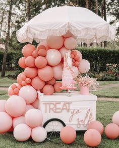 "PICNICS IN THE CITY LLC🏙 on Instagram: ""Cutest dessert cart in town!!! 💕✨"" Happy Birthday Decor, Diy Birthday Decorations, Balloon Decorations, Baby Shower Decorations, Birthday Parties, Balloon Ideas, 30th Birthday, Balloon Clouds, Balloon Backdrop"