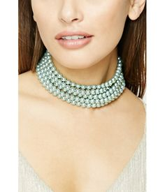 Product Name:Faux Pearl Layered Choker, Category:ACC, Pearl Necklace, Beaded Necklace, Layered Chokers, Shop Forever, Turquoise Necklace, Latest Trends, Pearls, My Style, Pretty
