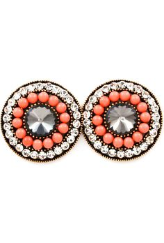 Coral stud earrings.   I have a new obsession with chunky studs, and these don't help! :P
