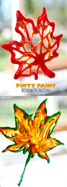 Fall Leaf Puffy Paint Window Decorations with printable templates #CraftyisContagious