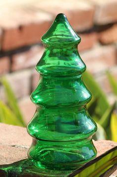 Christmas Tree Jar - Green Shaped Glass - 70's era. $15.00, via Etsy.