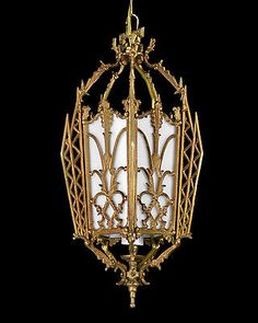 Antique Brass Glass Lantern Slag Stained Bronze Gold Crystal Tudor English Deco